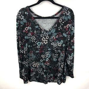 Lane Bryant Floral V Neck Knit Top